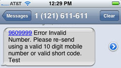 Text message fails on iPhone: Error invalid number notification
