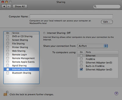 Disable internet sharing to fix iChat video conferencing error