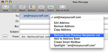 Removing email addresses from the Previous Recipients list in Mac OS X Mail