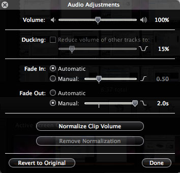 How to fade audio clips in iMovie 08