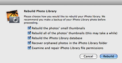 Rebuild your iPhoto library