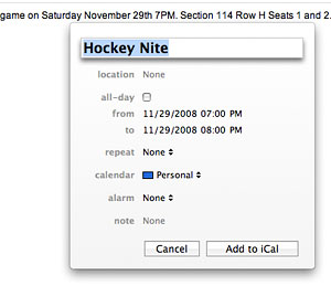 Add a new event to iCal via data detectors