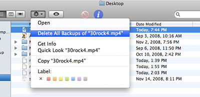 Delete files from Time Machine backups