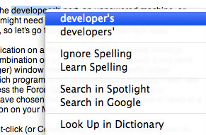 Spell-check with contextual menus in Mac OS X