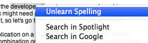 Unlearn word spellings in Mac OS X