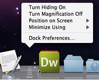 Dock menu