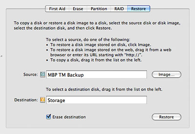 Clone your Time Machine drive using Disk Utility