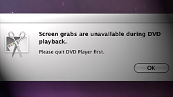 How to take screenshots in Mac OS X\'s DVD Player application