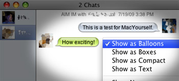 Quickly change views in iChat