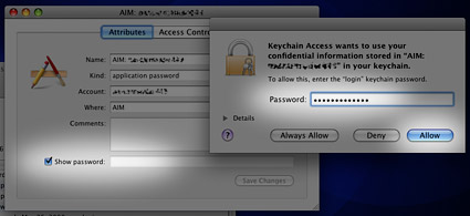 Keychain Access Show Password