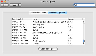 View Installed Software Updates