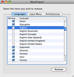 Save disk space on your Mac with Monolingual