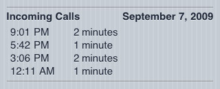 iPhone call duration and call times