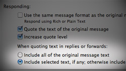 Quote selected text, include original attachments in Mail replies