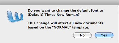 Change default font in Word 2008 for Mac