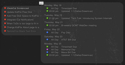 iDeskCal - Show iCal on Mac desktop