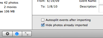 iPhoto hide photos already imported