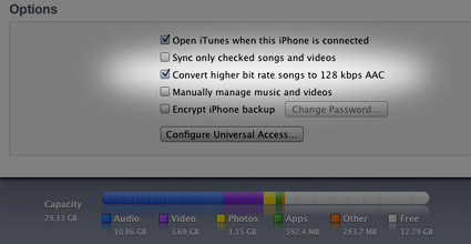 Convert to 128 kbps AAC in iTunes