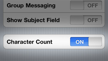 iPhone iOS 4 SMS Character Count