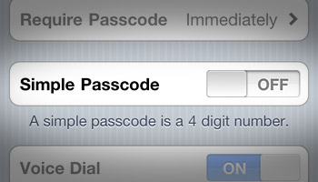 iPhone iOS 4 Turn Off Simple Passcode