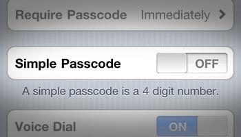iPhone iOS 4 Turn Off Simple Passcode