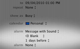 Change iCal default alarm sound