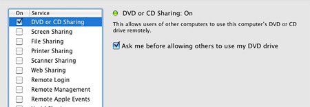 Remote disc sharing on a Mac