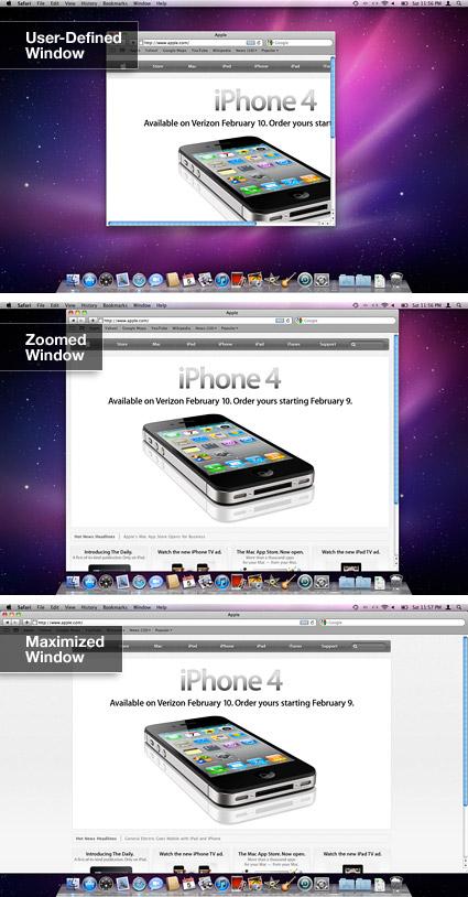 Mac OS X Zoom button in Safari