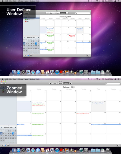 Mac OS X Zoom button in iCal
