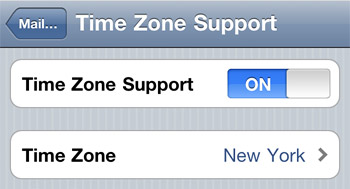Change time zone in iOS calendar