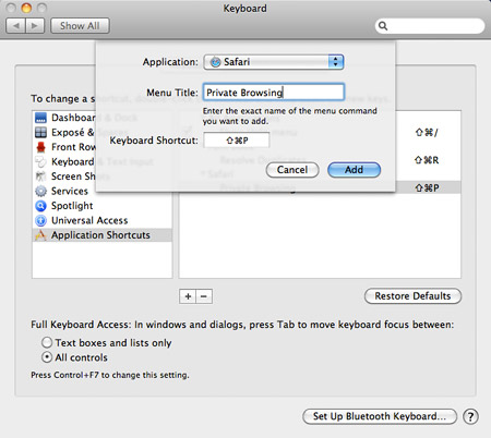 Safari Private Browsing keyboard shortcut