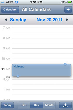 Draggable events in iOS 5 Calendar