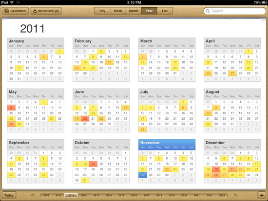 Year view in Calendar app in iOS 5 for iPad