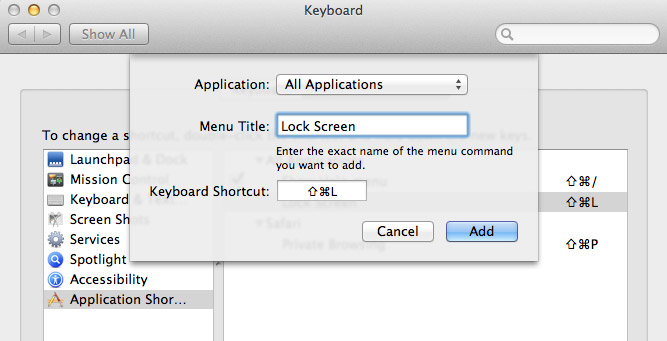 Lock Mac screen with keyboard shortcut