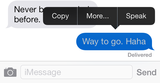 Delete and forward individual text messages on iOS 7